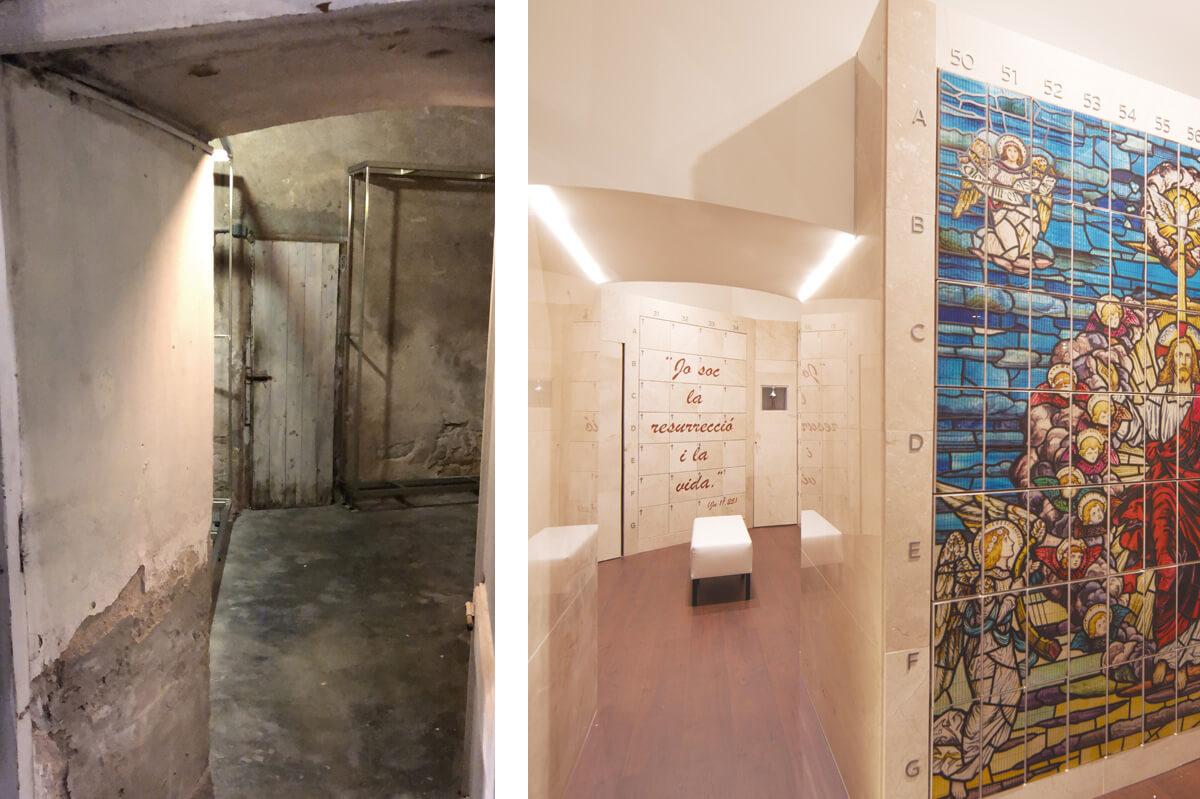 Espacio antes y después de la construcción del columbario